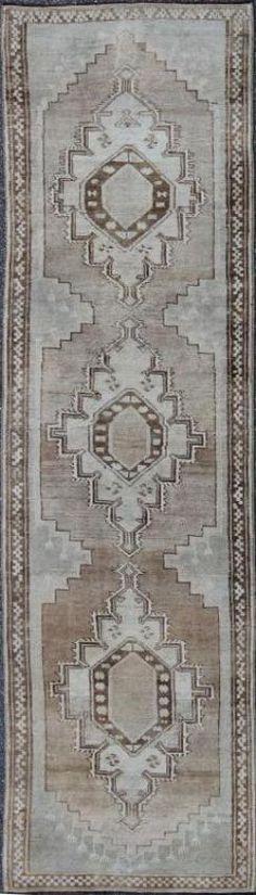 """KEIVAN WOVEN ARTS,   Type :Oushak Origin :Turkey  Size : 2'10""""x10'5""""  Circa :1940"""
