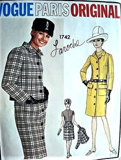 1960s LAROCHE Classy Suit and Blouse Pattern VOGUE PARIS Original 1742 Striking Design Hard To Find Bust 34 Vintage Sewing Pattern