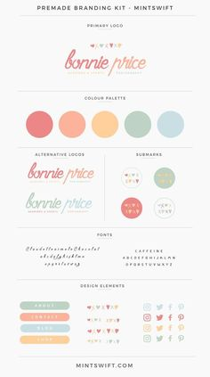Bonnie Price Premade Branding Kit Brand Kits & Mood Boards example for the Elevate Your Biz Emails™ eCourse by Boosting Your Brand™ Branding Kit, Branding Design, Logo Design, Corporate Branding, Self Branding, Branding Ideas, Brand Identity Design, Theme Color, Color Themes