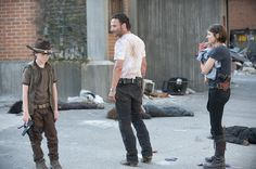 "Carl Grimes, Rick Grimes and Maggie Greene in ""Killer Within"""