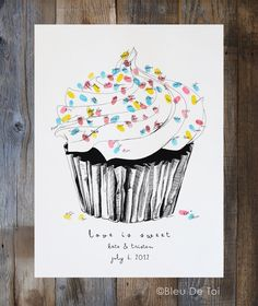 The original guest book fingerprint sprinkles cupcake, love is sweet, for weddings (ink pads sold separately) Donut Drawing, Cupcake Drawing, Thumbprint Guest Books, Book Cupcakes, Sprinkle Cupcakes, Baby Sprinkle, Balloons And More, Fingerprint Tree, Original Design