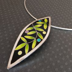 """Black and Green Laurel Leaf Pendant - Cloisonné & Champlevé Enamels on Fine Silver with 16"""" Sterling Silver Chain by SandraMcEwenJewelry on Etsy"""