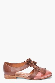 JEFFREY CAMPBELL Brown Leather Open Flats