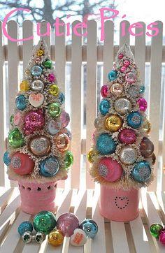 Cutie Pies...Valentine bottle brush trees