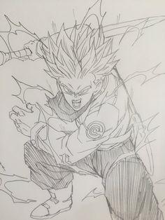 SSJ 2 Trunks Manga Dragon, Dragon Art, Dragon Ball Z, Dbz Drawings, Anime Echii, Dragon Super, Pokemon Dragon, Ball Drawing, Akira