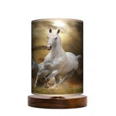 Fotolampa stojąca mała - Horses_orzech www.fotolampy.pl