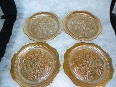 "Jeannette Iris Herringbone Iridescent 9"" Dinner Plates, $64.99/Set of 4 at abeachbum63 on ebay, 8/16/15"