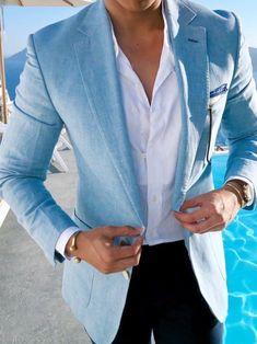 Light blue linen blazer
