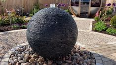 Slate sphere water sculpture by James Parker. James Parker creates customised and bespoke artworks for the home, garden, public and commercial spaces. This is a customised stacked slate Modern Water Feature, Small Water Features, Diy Water Feature, Outdoor Water Features, Backyard Water Feature, Water Features In The Garden, Sphere Water Feature, Garden Features, Garden Water Fountains