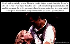 """i don't understand why people think that marius should be stoic/uncaring during """"a little fall of rain."""" even if you think that he doesn't care about éponine at all, he's still watching someone die in his arms as she begs him to comfort her. since marius isn't a sociopath, it doesn't make any sense for him not to be a puddle of tears."""