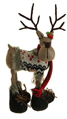 This cute standing reindeer is ready for adorning your mantle for the winter season. Not Intended for Children. Christmas Moose, 1st Christmas, Rustic Christmas, Christmas Ideas, Christmas Decorations, Table Decorations, Christmas Ornaments, Holiday Crafts, Holiday Decor
