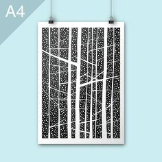 Night Forest / A4 print / forest poster print / Art print /
