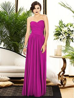 b4d83ee792e Full length strapless lux chiffon dress with banded rouch detail on