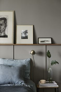Art in bedroom / Misty blue and grey colors / half panel wall
