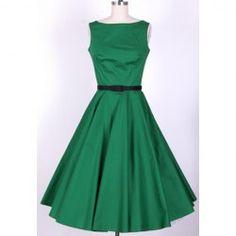 $36.62 Vintage Scoop Neck Pleated Sleeveless Green Women's Dress