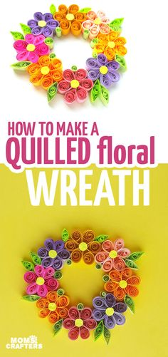 Looking for a fun tutorial to make a paper quilling wreath? This one is easier than you'd think, using basic quilling techniques to make a Spring wreath. Paper Flower Wreaths, Paper Quilling Flowers, Quilling Work, Easy Paper Flowers, Quilling Paper Craft, Quilled Roses, Paper Crafting, Craft Flowers, Flower Paper