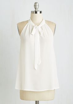 Your Best Effortlessness Top in Ivory. Embody the elegance of casual chicness every time you tie the neckline of this flowing tank! #white #modcloth