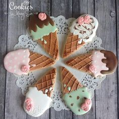 Ice cream cone cookies in every style imaginable! Some have royal icing while others, like the first one, has both royal icing and buttercream. Some use real ice cream cones and others ma. Ice Cream Cookies, Fancy Cookies, Iced Cookies, Cut Out Cookies, Cute Cookies, Royal Icing Cookies, Cupcakes, Cupcake Cookies, Easter Cookies