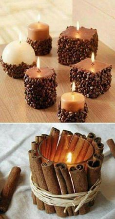 70 Fall Centerpieces DIY ideas for Fall home decoration - Hike n Dip <br> Infuse gorgeous fall colors in your decor with Autumn centerpieces. Here are the best Fall centerpieces DIY Ideas using Pumpkin, Wheat shaft, Pinecones etc. Diy Home Crafts, Fall Crafts, Diy Home Decor, Diy Decoration, Homemade Candles, Diy Candles, Candle Wax, Homemade Candle Holders, Votive Holder