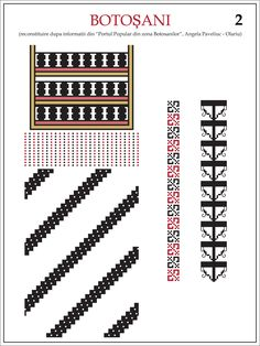 Ie Botosani Folk Embroidery, Shirt Embroidery, Embroidery Patterns, Cross Stitch Patterns, Mosaic Art, Hama Beads, Cross Stitching, Beading Patterns, Diy Clothes
