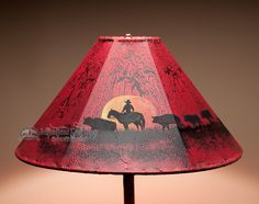 ༻✿༺ ❤️ ༻✿༺ Mission De Rey | 20'' Painted Leather Lamp Shade ༻✿༺ ❤️ ༻✿༺