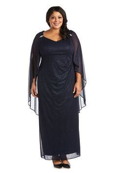 R&M Richards Long Plus Size Formal Cape Gown 2384W   The Dress Outlet Mother Of The Bride Plus Size, Cape Gown, Plus Size Formal, Bride Gowns, Bell Sleeve Dress, Pageant Dresses, Formal Gowns, Plus Size Dresses, Evening Gowns