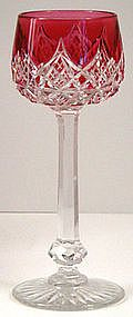 Baccarat Cranberry Cut to Clear Crystal Wine Glass produced before 1950