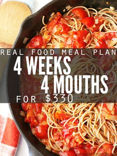 Real food meal plan on a budget, clean eating meal plan for a family of 4 for $330. Ideas for frugal meals, simple recipes & monthly meal plan on a budget.