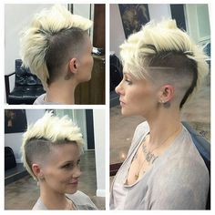 24 High Fade Haircut Ideas For Women To Ruin All The Stereotypes : Short Blonde Mohawk Pixie Mohawk, Girl Mohawk, Short Pixie Haircuts, Pixie Hairstyles, Short Hair Cuts, Cool Hairstyles, Short Hair Styles, Mohawk Cut, Short Hair Mohawk