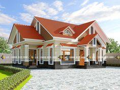 BIỆT THỰ 1 TẦNG MÃ SỐ BT1-058 - Công ty cổ phần tư vấn kiến trúc xây dựng Nhà Phương Đông Bungalow House Design, Small House Design, Cool House Designs, Modern House Design, Roof Styles, House Styles, Double Story House, Window Grill Design, Thai House