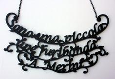 Alda Merini tribute acrylic lasercut necklace price is $46 or 35 euros