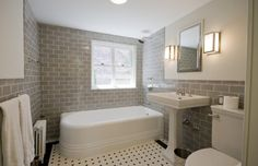 Looking for a timeless neutral scheme.  This bathroom would be modern with a different bath tub and radiator.  The grey subway tile is beautiful, but the white grout should be sealed and resealed faithfully to keep the clean look.  The only additions necessary to this bath are a shower rod and curtain and a towel heater.