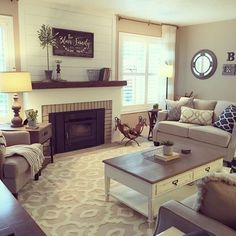 This living room was updated with fresh white shiplap, a rustic reclaimed mantel, and a fresh new modern farmhouse look. Interior design by Janna Allbritton, Yellow Prairie Interior Design. #smallroomdesignfurniturearrangement