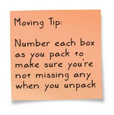 Moving Tips: Number each box as you pack to make sure you are not missing any when you unpack. (life hacks home organisation) Moving Home, Moving Day, Moving Tips, Moving Hacks, Packing To Move, Packing Tips, Travel Packing, Move On Up, Big Move