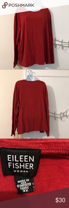 Eileen Fisher plus size shirt 56% cotton, 38% Tencel and 6% Lycra.  Machine wash cold and line dry.  I do not know how this garment was cared for before I  acquired it. Eileen Fisher Tops Tees - Long Sleeve