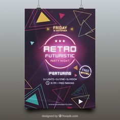 Futuristic party poster template Free Vector Futuristic Party, Retro Futuristic, Poster Design Layout, Event Poster Design, Retro Party, Neon Party, Graphic Design Pattern, Graphic Design Layouts, Prospectus