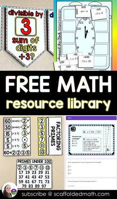 In this post are links to free math resources from Scaffolded Math and Science, including math word walls, math pennants, math cheat sheets and other fun math activities. Free Teaching Resources, Teaching Math, Science Resources, Teaching Ideas, Math Vocabulary Wall, Maths, 6th Grade Math Games, Integers Worksheet, Divisibility Rules