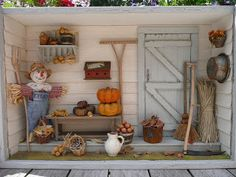 The four-season garden shed Vitrine Miniature, Miniature Rooms, Miniature Crafts, Nim C, Autumn Room, Paper Crafts Origami, Fairy Garden Houses, Fairy Dolls, Mosaic Patterns