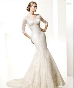 Original Style 1 2 Sleeves Sweetheart Mermaid Applique Satin Overlay Lace  Court Train Wedding Dress 0a3076ca4eae