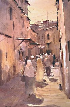 "Robert Wade     ''ALLEY IN FEZ"" 19""x14'' Painted 1989"