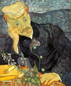 """Portrait of Dr. Gachet, 1990. One of the most revered paintings by Vincent van Gogh. It depicts Dr. Paul Gachet who took care of Van Gogh during the final months of his life. Van Gogh wrote to his brother Theo """"I've done the portrait of M. Gachet with a melancholy expression, which might well seem like a grimace to those who see it... Sad but gentle, yet clear and intelligent, that is how many portraits ought to be done...."""""""