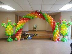 decoracion con globos tortugas ninja - Buscar con Google