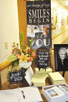 Celebrating a life}how to plan a funeral/memorial service - Grab Beerdigung - Celebration Funeral Reception, Funeral Guest Book, In Memory Of Dad, In Loving Memory, Memorial Cards For Funeral, Funeral Memory Cards, Funeral Quotes, Memory Table, Funeral Planning