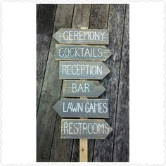 Check out this item in my Etsy shop https://www.etsy.com/listing/249318045/rustic-wedding-directional-sign-made-to