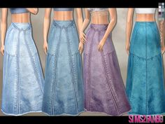 Sims 4 CC's - The Best: Denim Maxi Skirt by sims2fanbg
