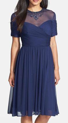 Alex Evenings Embellished Illusion Yoke Chiffon Fit & Flare Dress