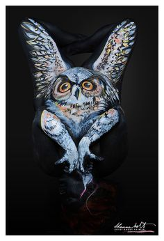 HORNED OWL - Shannon Holt | Body Painting Prints