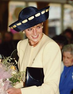 MAY 1995 - Wearing a neat blue suit with a matching hat and pearls, Diana was joined by Princes William and Harry at a day of celebrations commemorating the 50th anniversary of VE Day in Hyde Park. Description from pinterest.com. I searched for this on bing.com/images