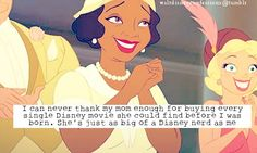 """""""I can never thank my mom enough for buying every single Disney movie she could find before I was born. She's just as big of a disney nerd as me."""" When my mom was little, she saw Walt Disney at Disneyland :) said she never forgot it"""