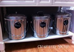 cool trash cans with chalk coard paint for storing pet food